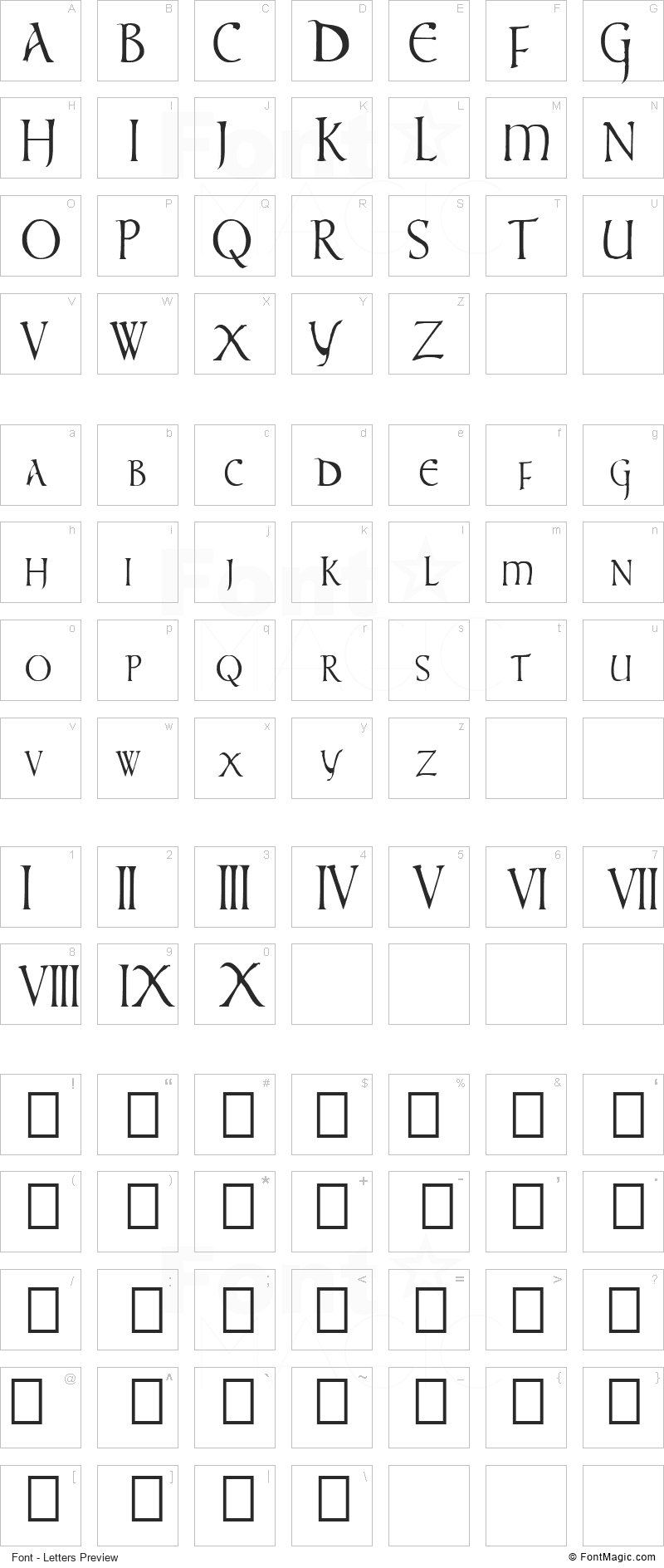 Times New Vespasian Font - All Latters Preview Chart