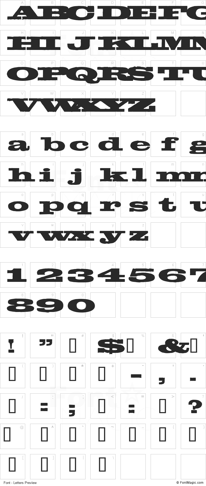 Egyptientto2 Font - All Latters Preview Chart