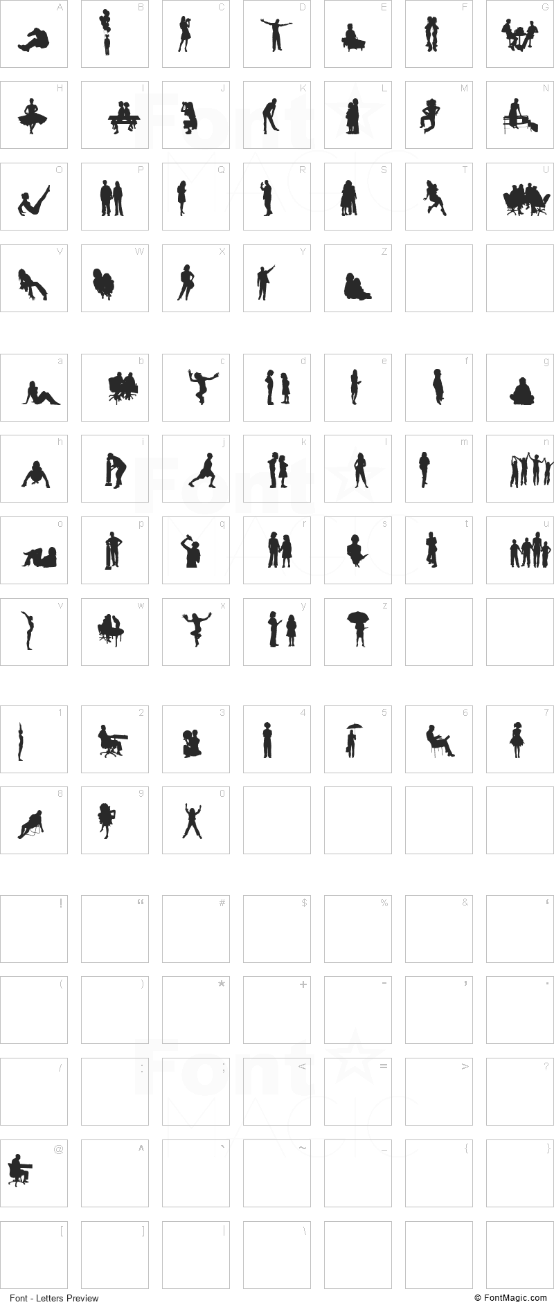 Human Silhouettes Free Four Font - All Latters Preview Chart