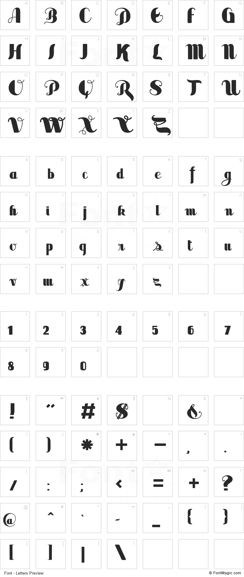 Sabor Font - All Latters Preview Chart