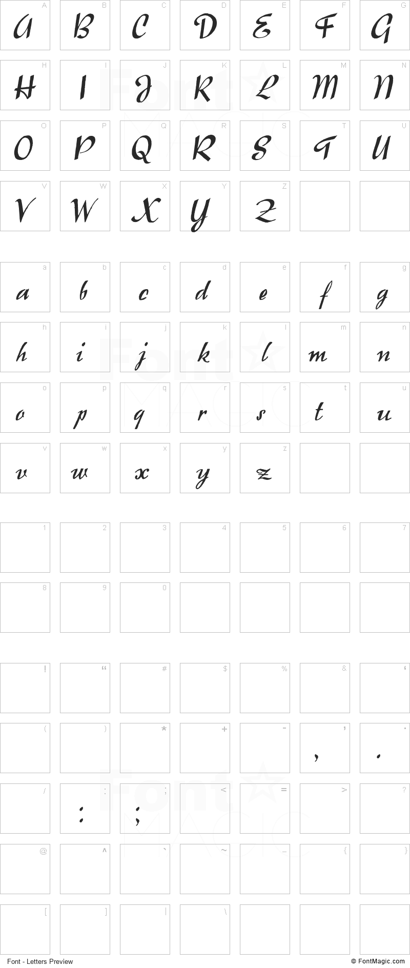 Raindrops Font - All Latters Preview Chart