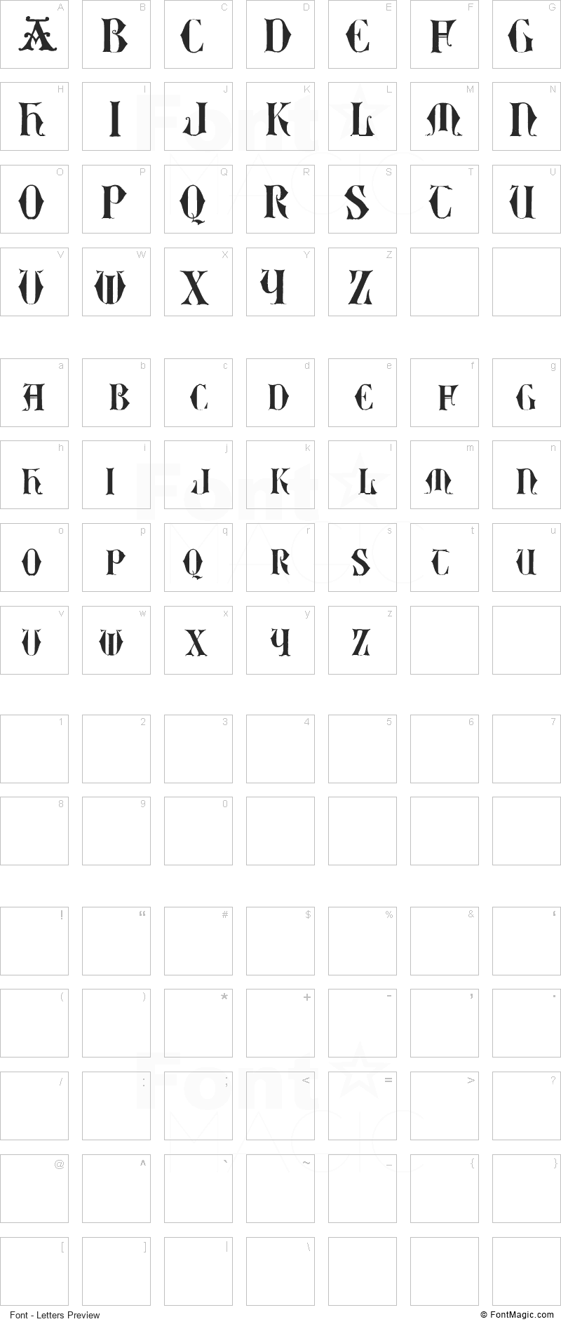 Easy Lombardic Two Font - All Latters Preview Chart