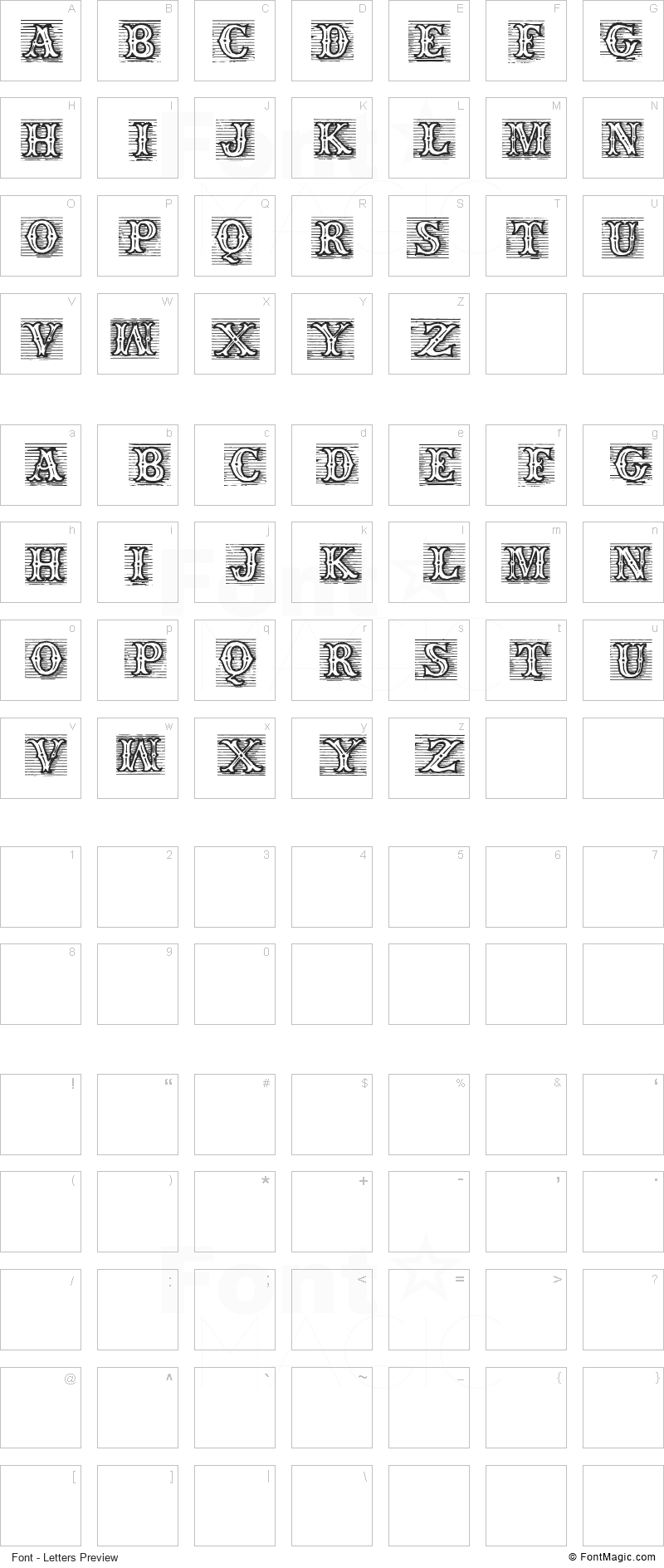 TagWood Font - All Latters Preview Chart