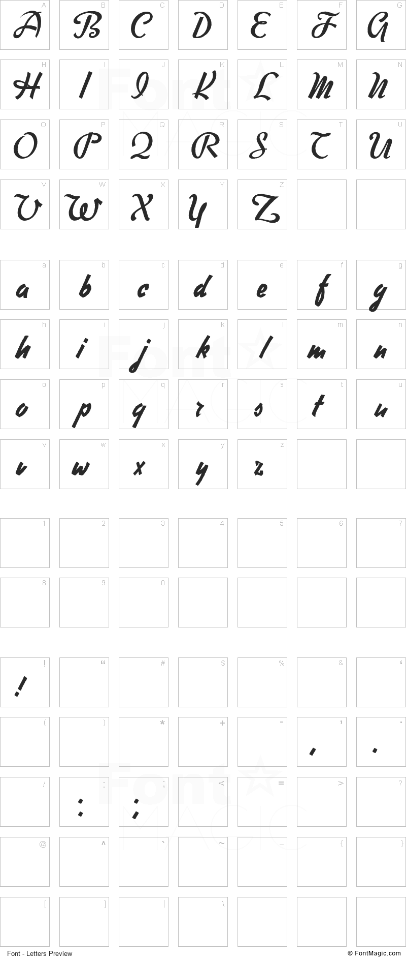 Free Writer Font - All Latters Preview Chart