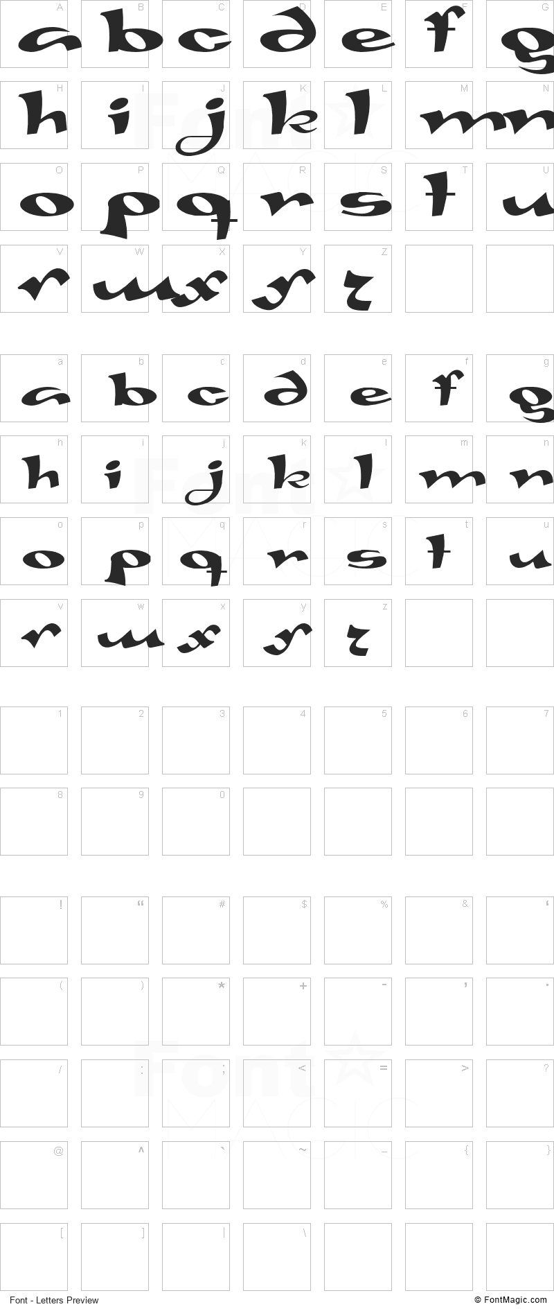 Gaivota Font - All Latters Preview Chart