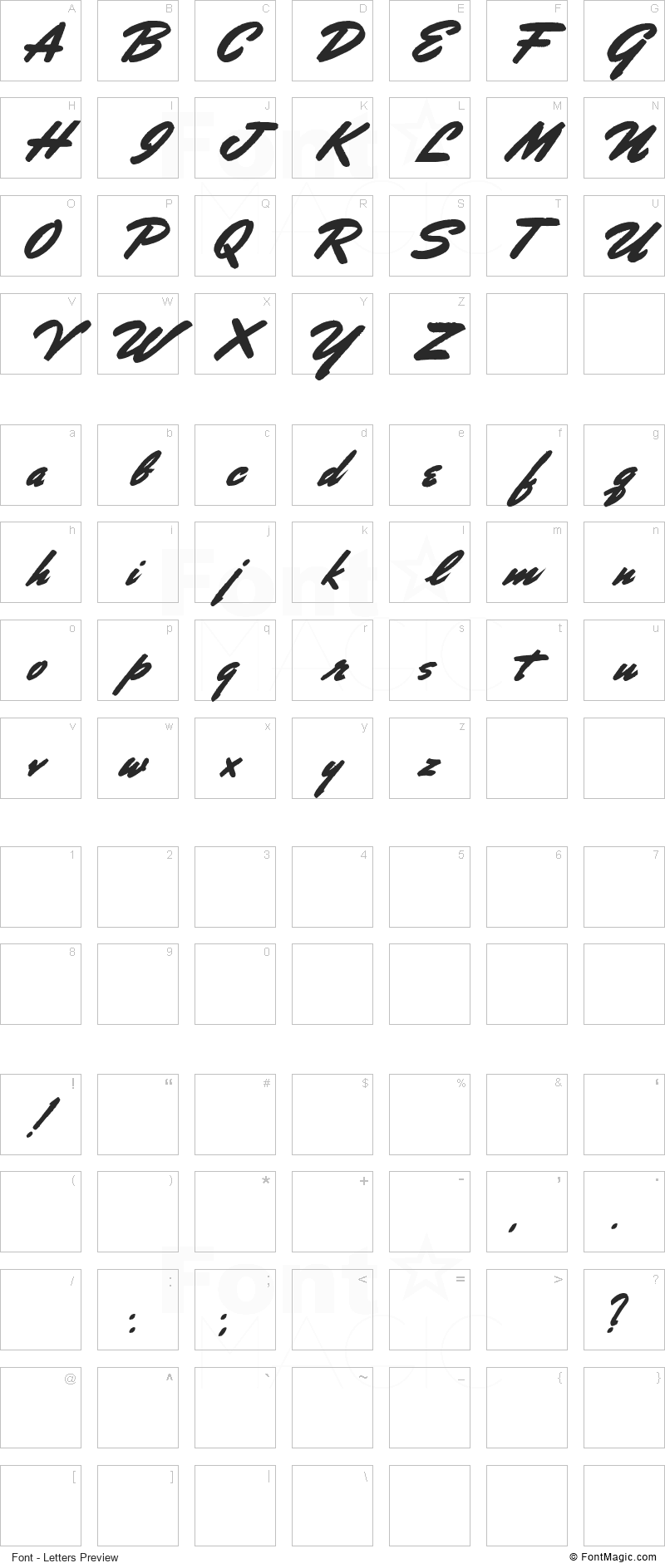 Porongo Font - All Latters Preview Chart