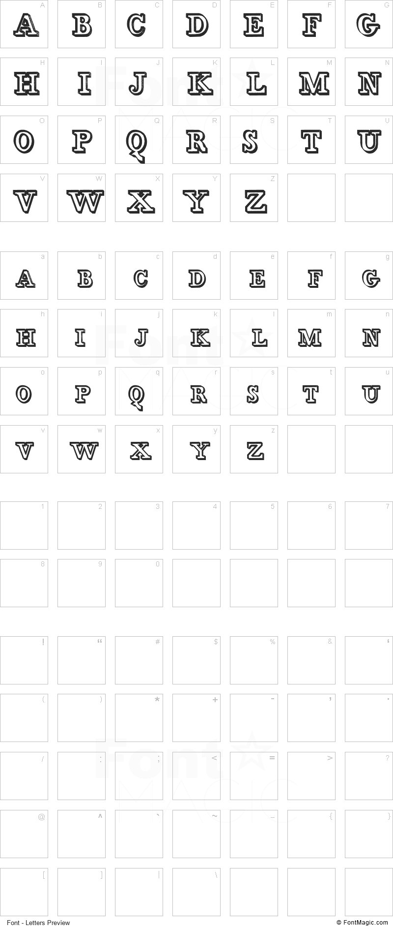 Egidia Font - All Latters Preview Chart