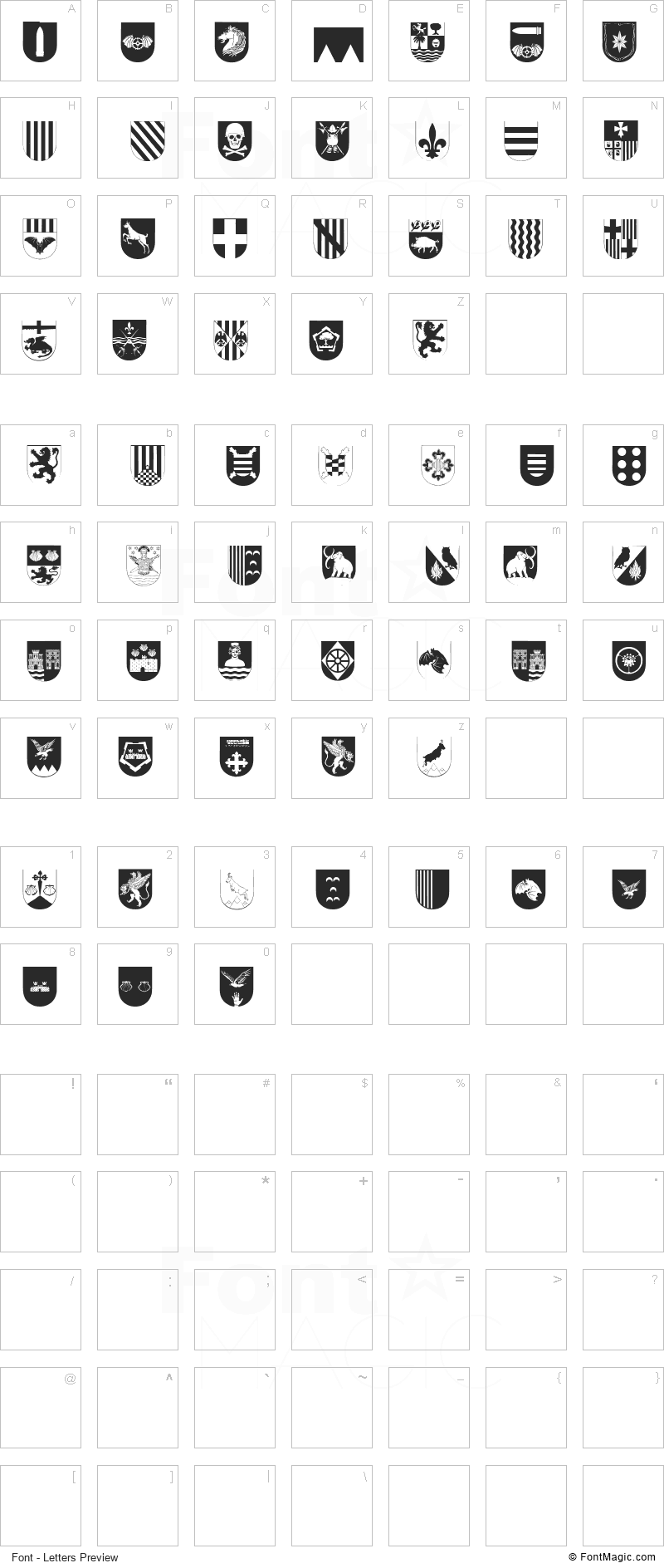 Spanish Army Shields Two Font - All Latters Preview Chart