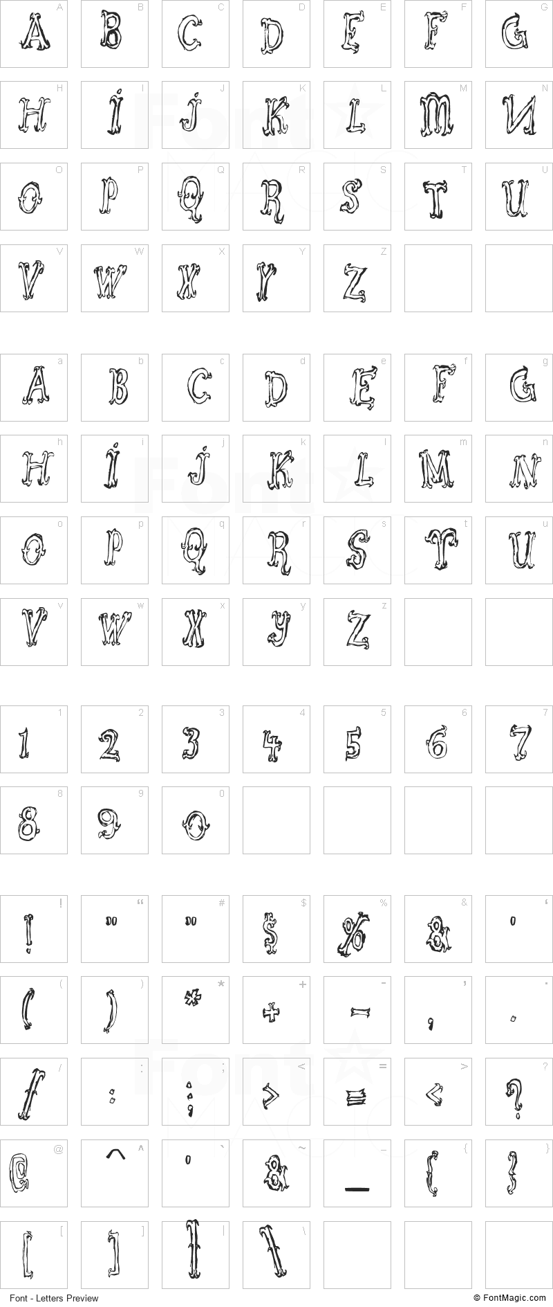 Szorakatenusz Font - All Latters Preview Chart