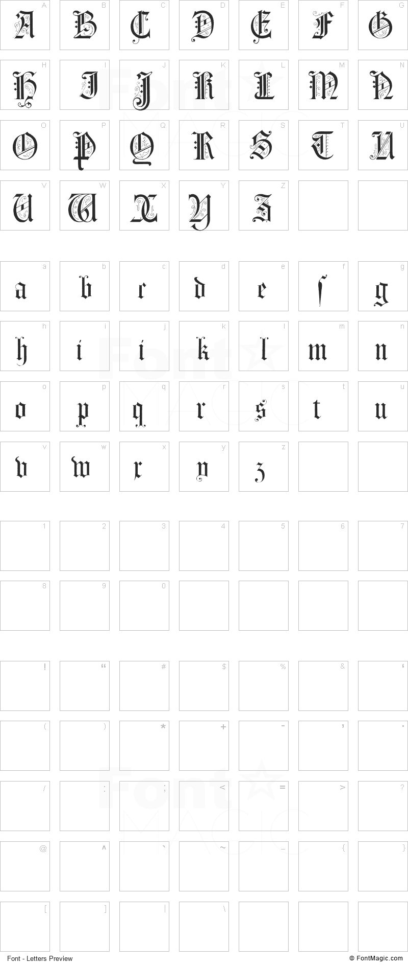 Morcrepito Font - All Latters Preview Chart