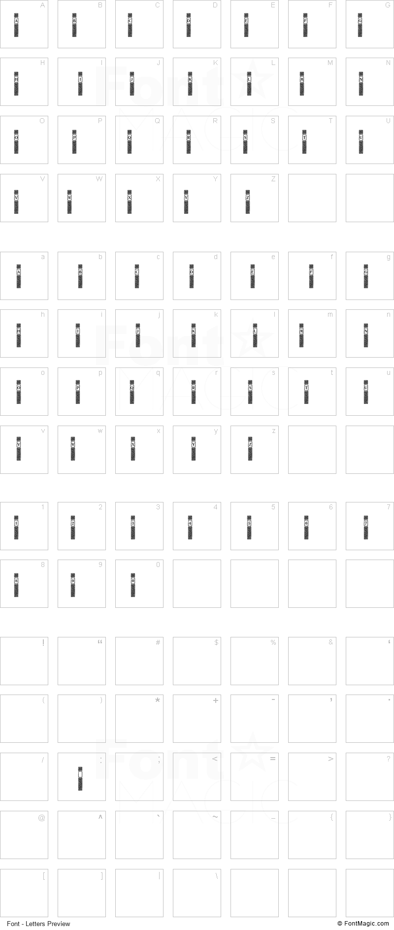 VertiCaps Font - All Latters Preview Chart