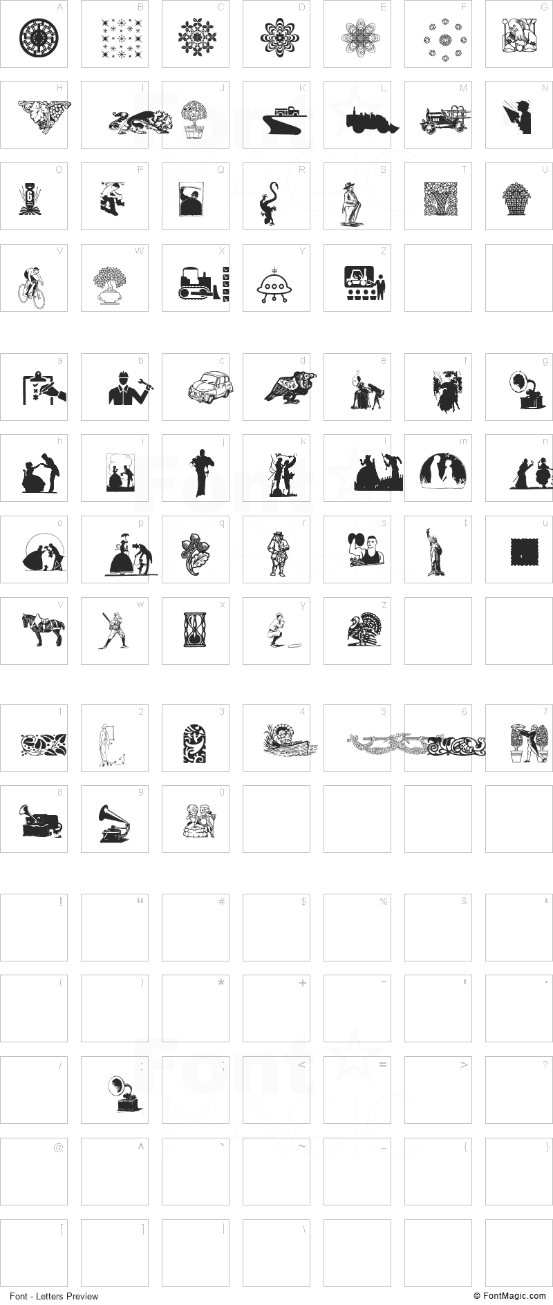 Random Dingbats Font - All Latters Preview Chart
