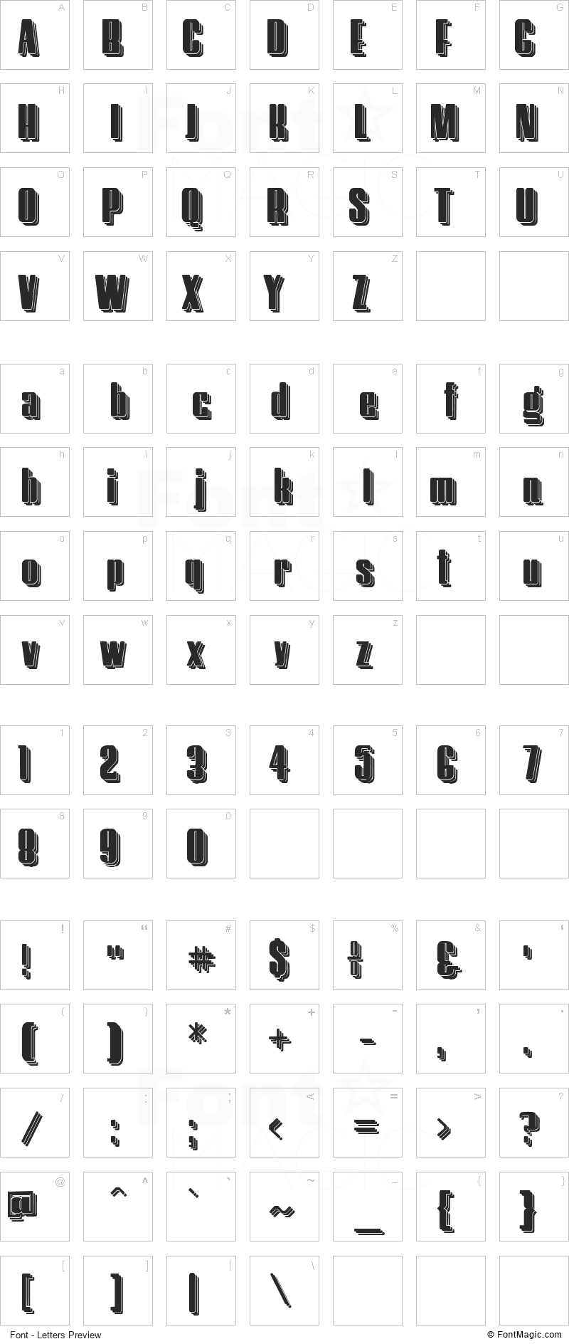 Hostil Font - All Latters Preview Chart