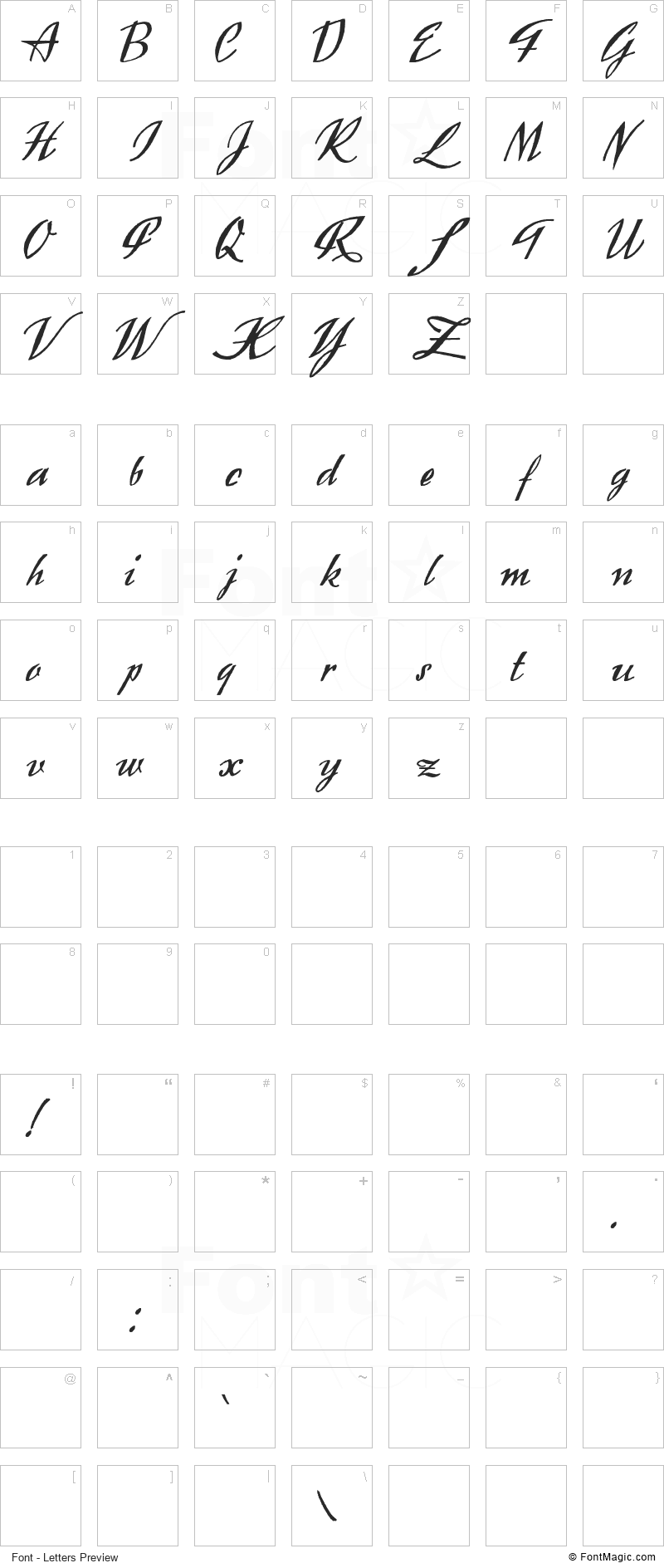 Exclusivite Font - All Latters Preview Chart