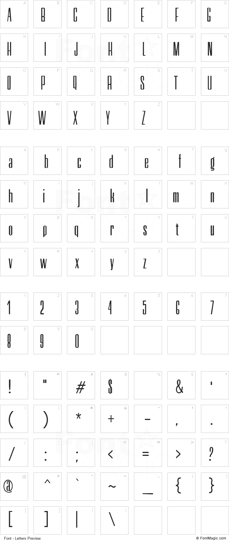 Neretta Font - All Latters Preview Chart