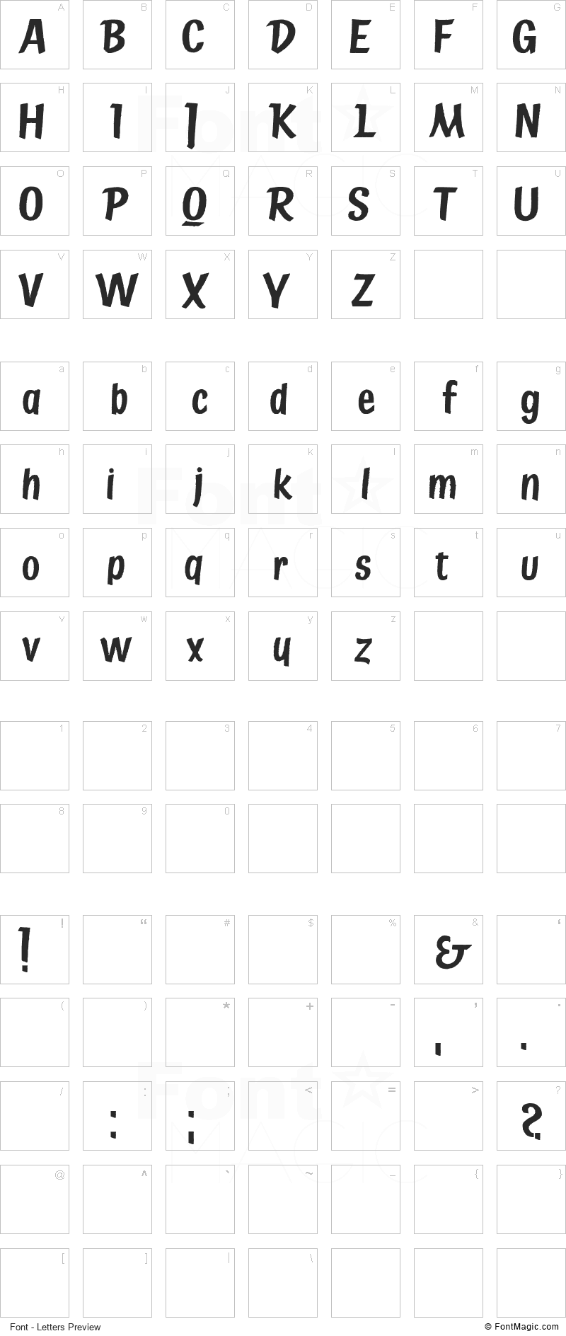 State Bridge Font - All Latters Preview Chart