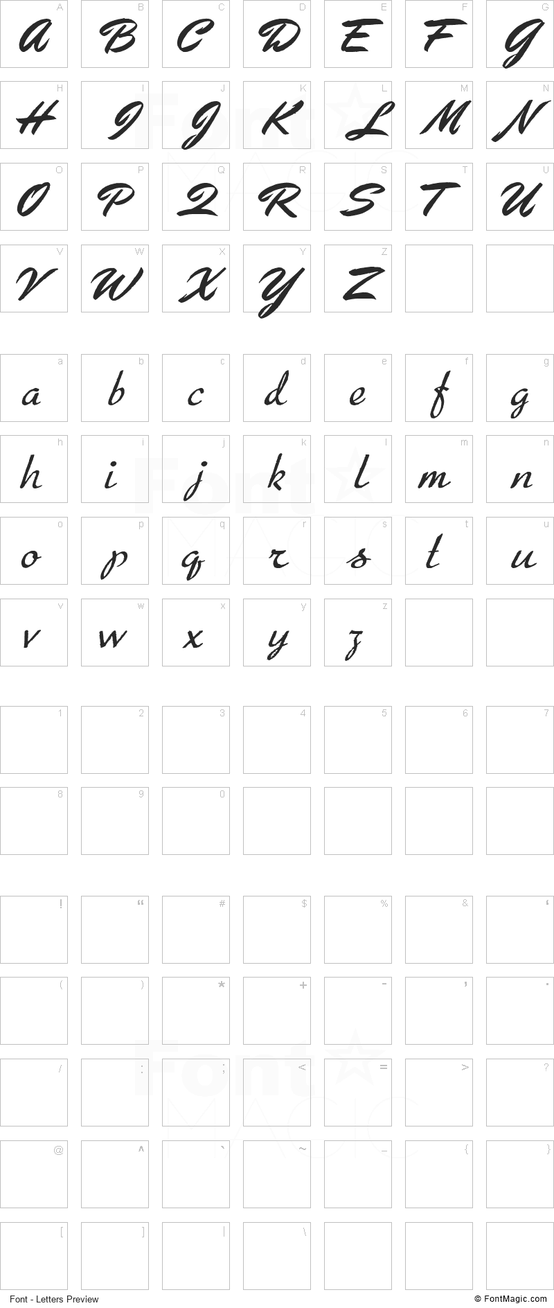 Arresto Font - All Latters Preview Chart