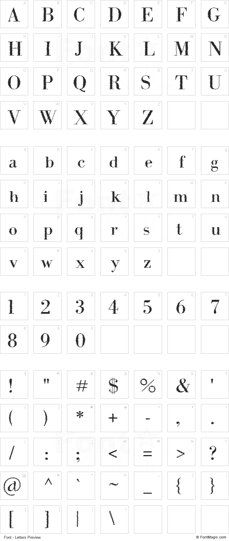 Intellecta Bodoned Trash Font - All Latters Preview Chart