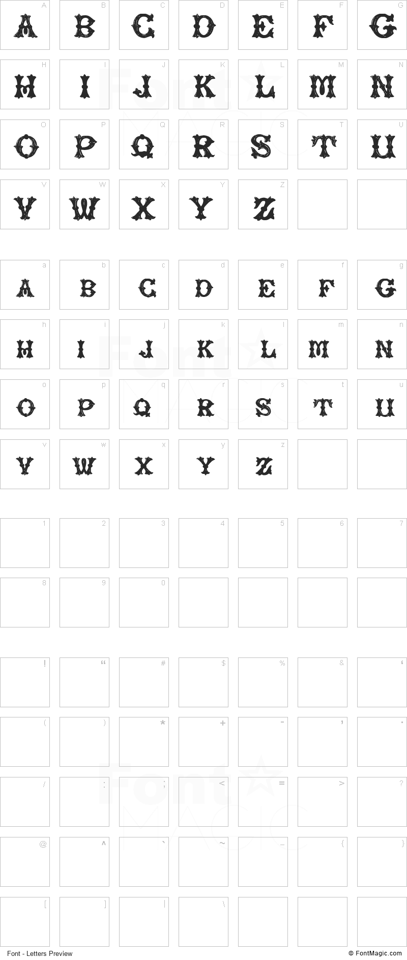 Rough Tuscan Font - All Latters Preview Chart