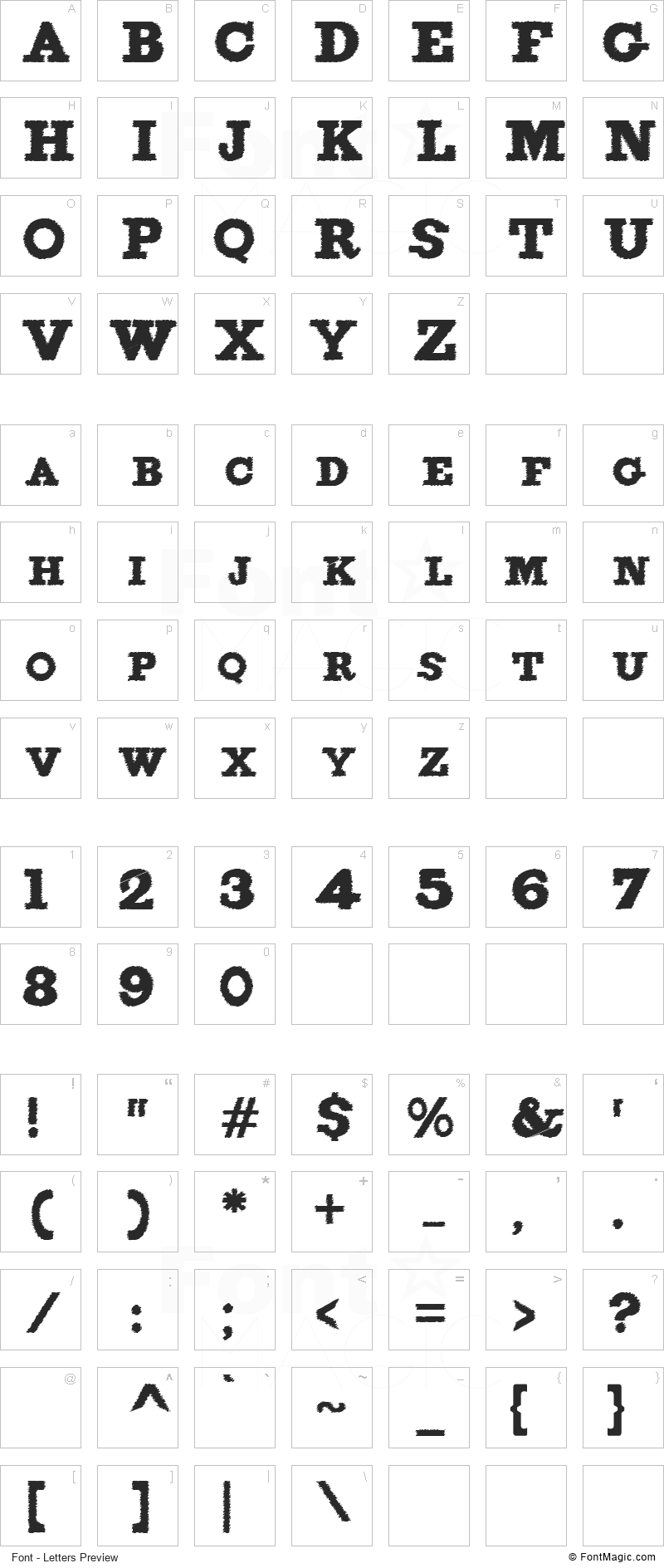 Figgins Brute Trash Font - All Latters Preview Chart