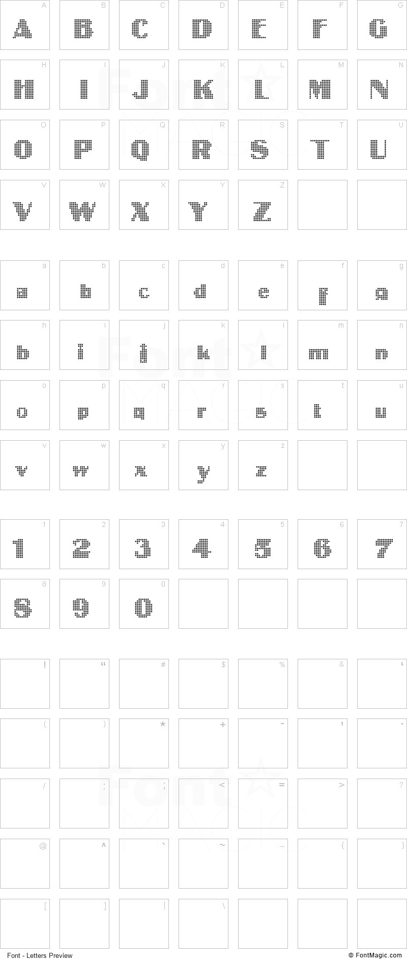 Intellecta Digital Font - All Latters Preview Chart