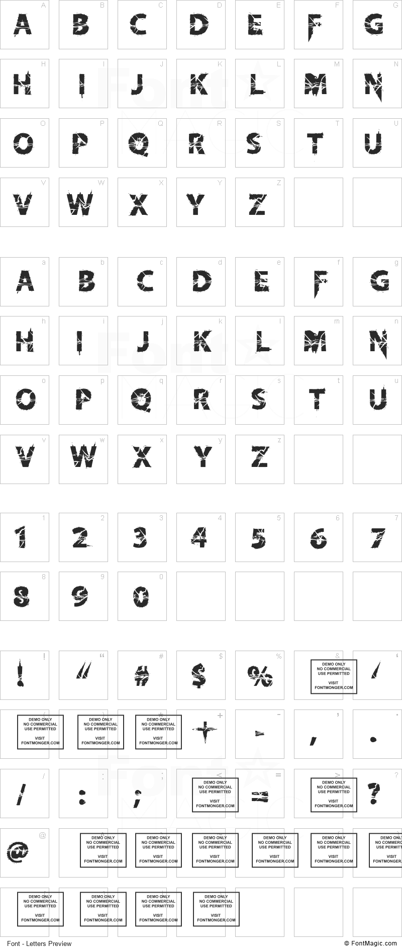 Knife Fight Ballet Font - All Latters Preview Chart