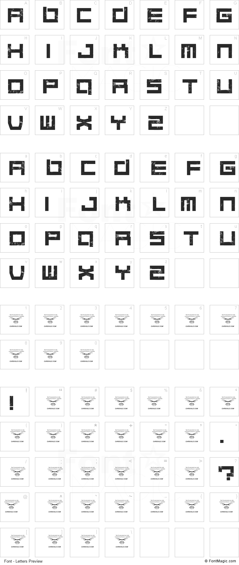 Quaaludes Font - All Latters Preview Chart
