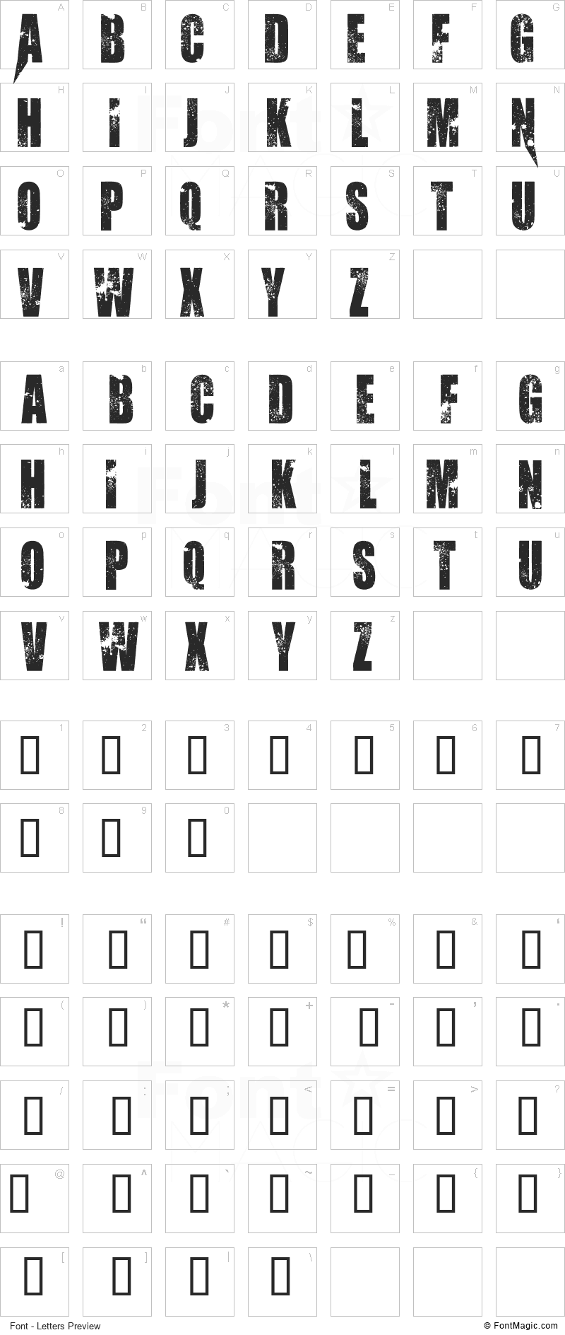 Abandon Font - All Latters Preview Chart