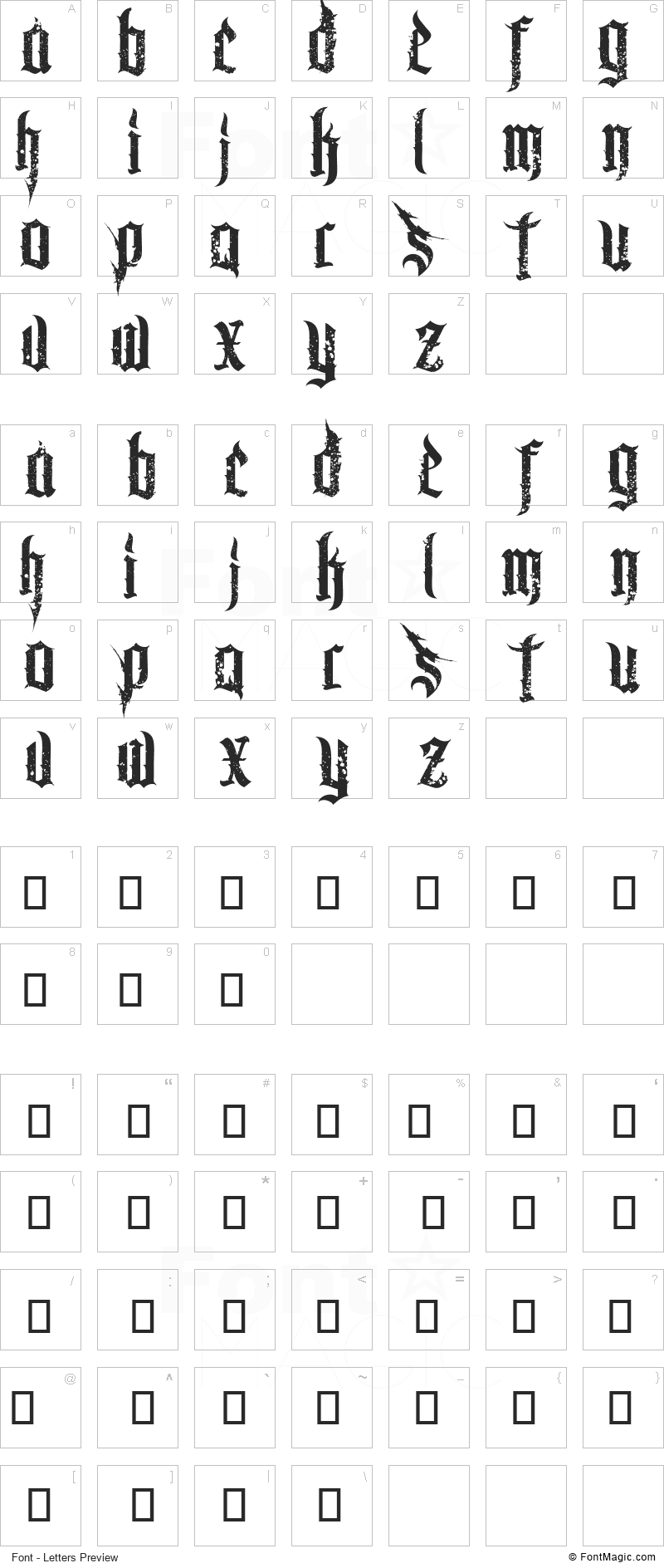Chaos and Pain Font - All Latters Preview Chart