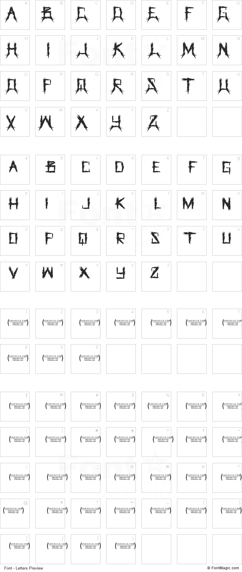 The Grinder Font - All Latters Preview Chart