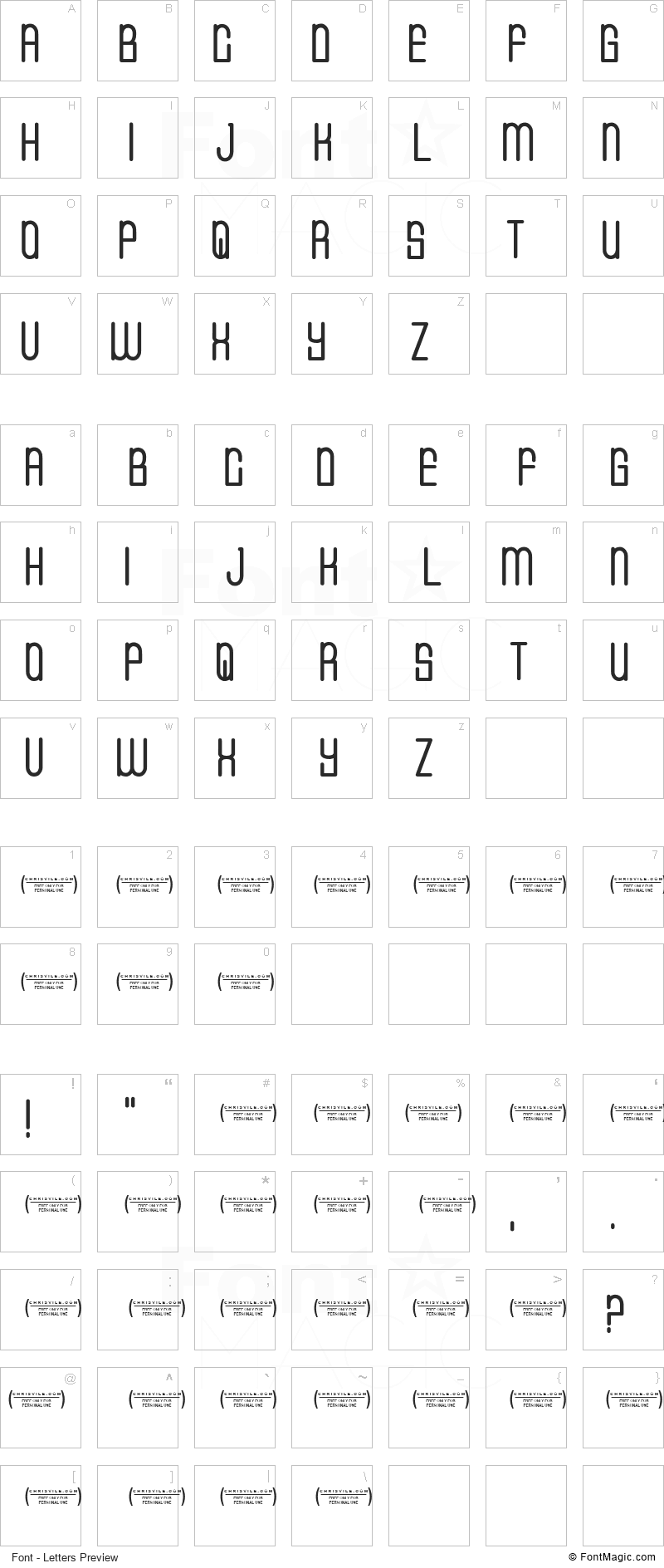 CVF Buffalo Grove Font - All Latters Preview Chart