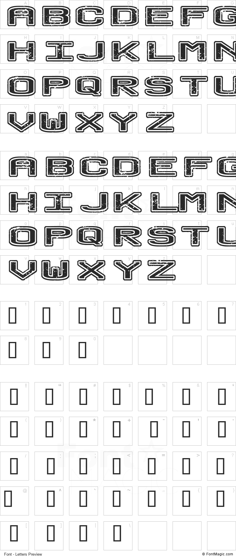 No Honor Roll Font - All Latters Preview Chart