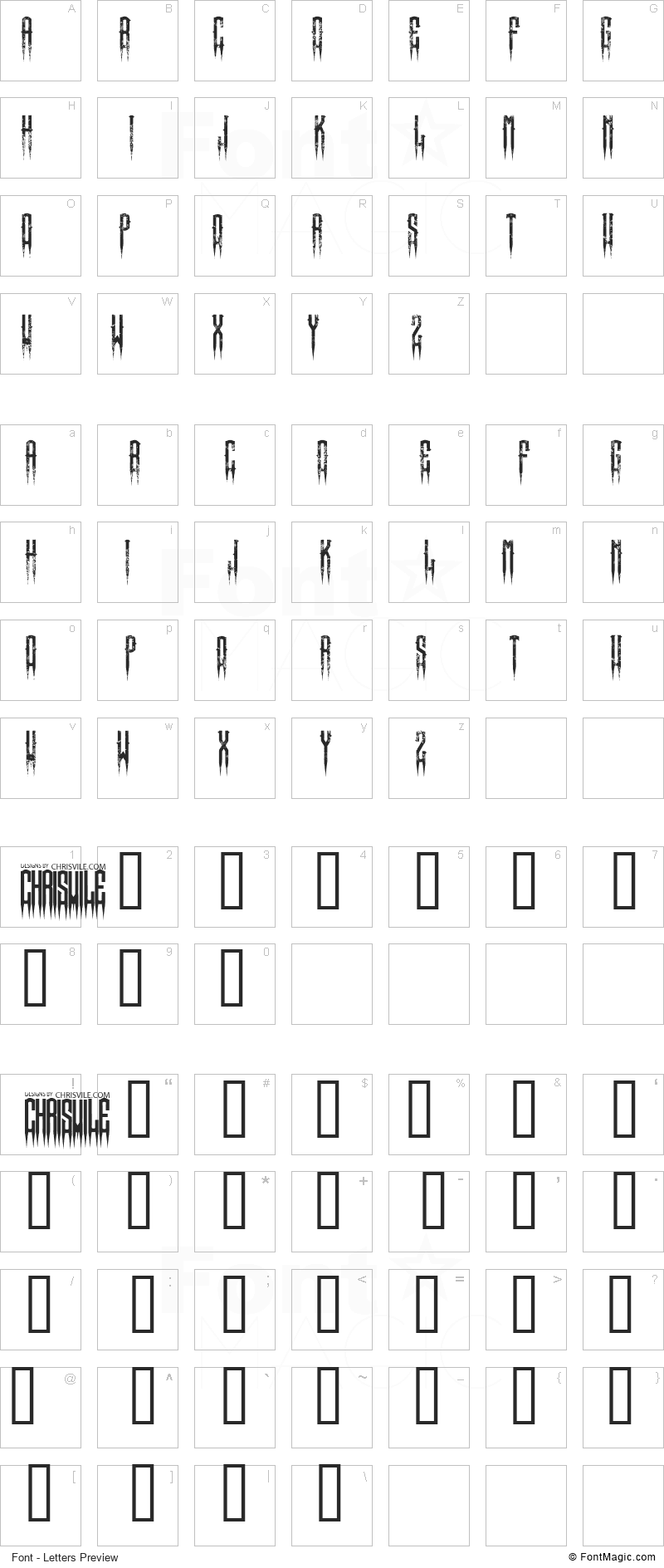 XSpiked Font - All Latters Preview Chart