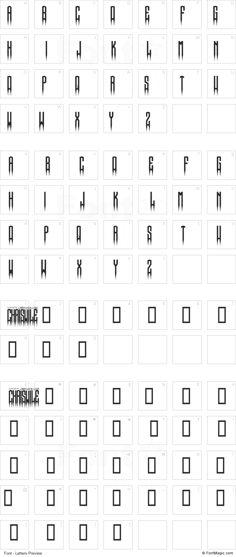 Spiked Font - All Latters Preview Chart