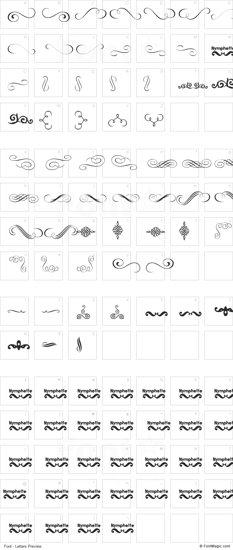 Nymphette Font - All Latters Preview Chart
