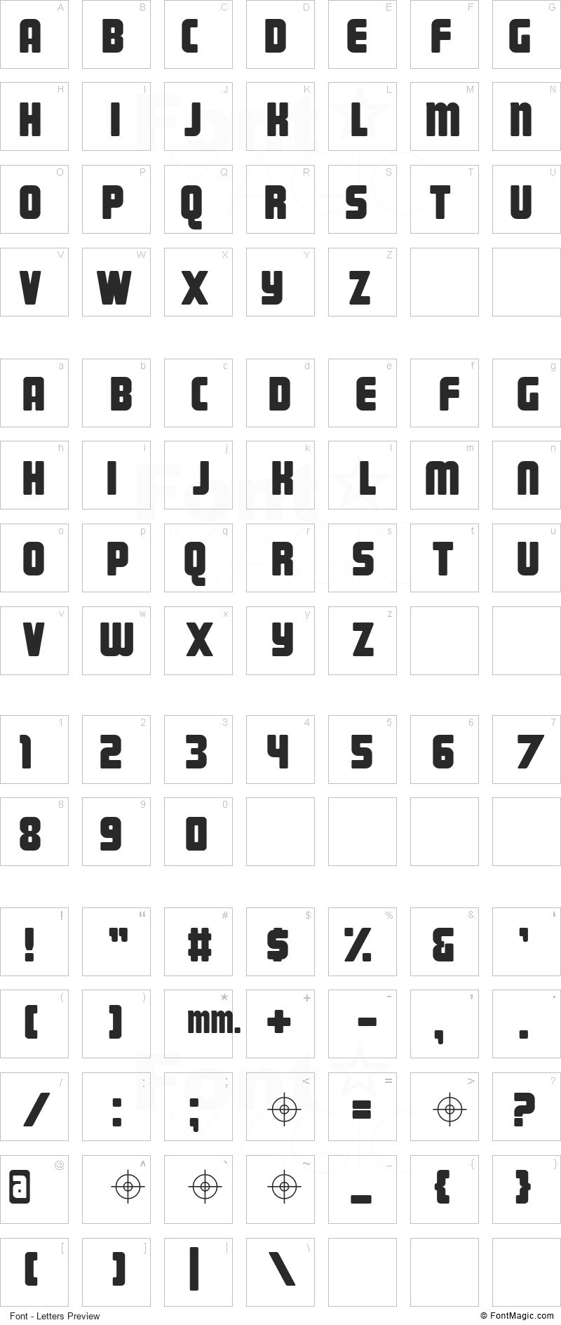 Magnum Font - All Latters Preview Chart