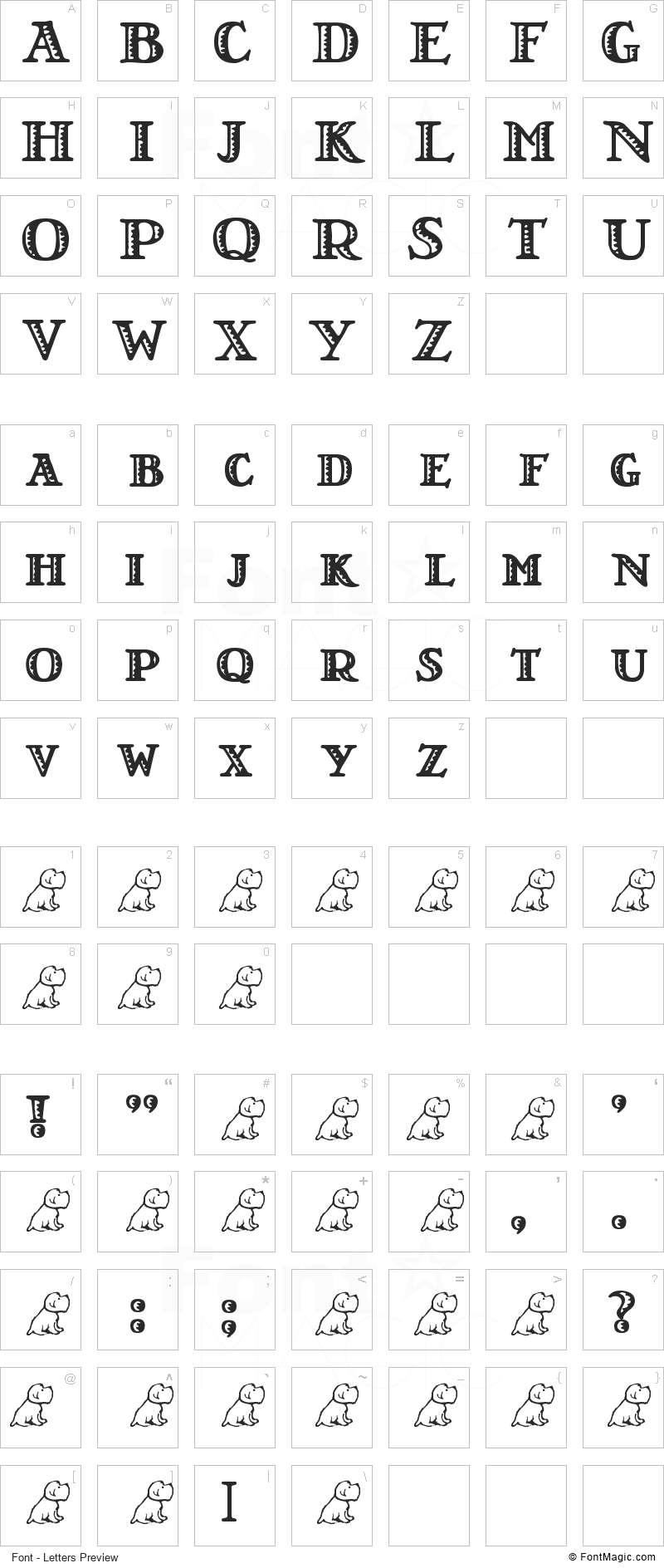 LT Nutshell Library Font - All Latters Preview Chart