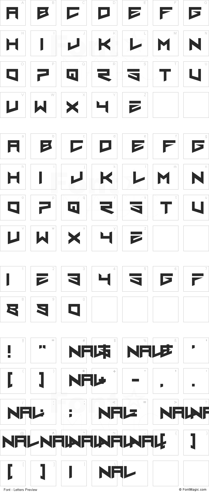 Nero Font - All Latters Preview Chart