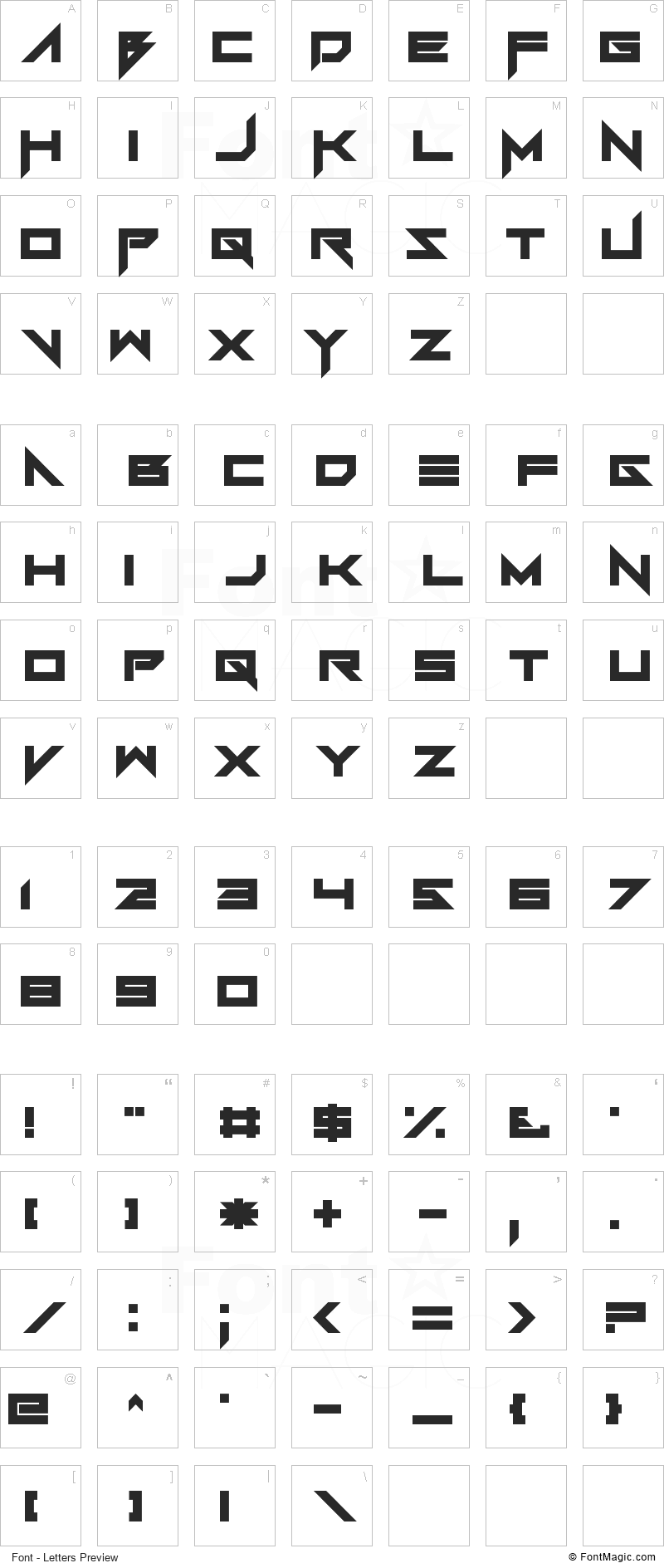 FoughtKnight Font - All Latters Preview Chart