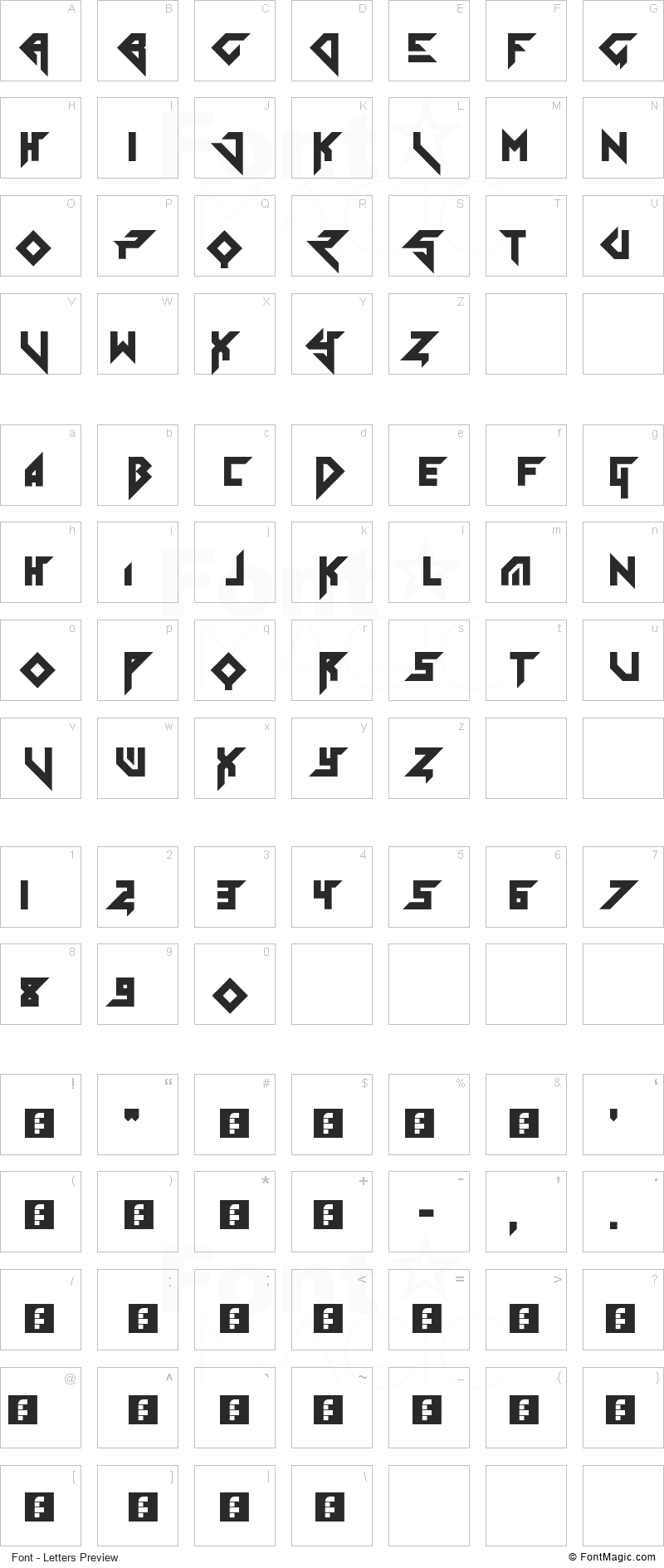 Tolerant Font - All Latters Preview Chart