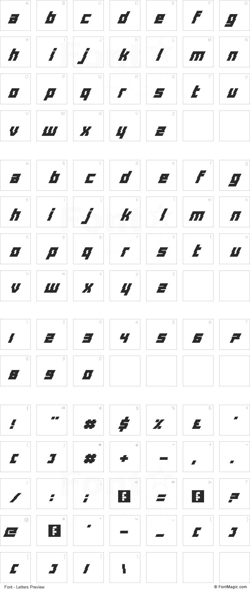 Distortion Of The Brain And Mind Font - All Latters Preview Chart