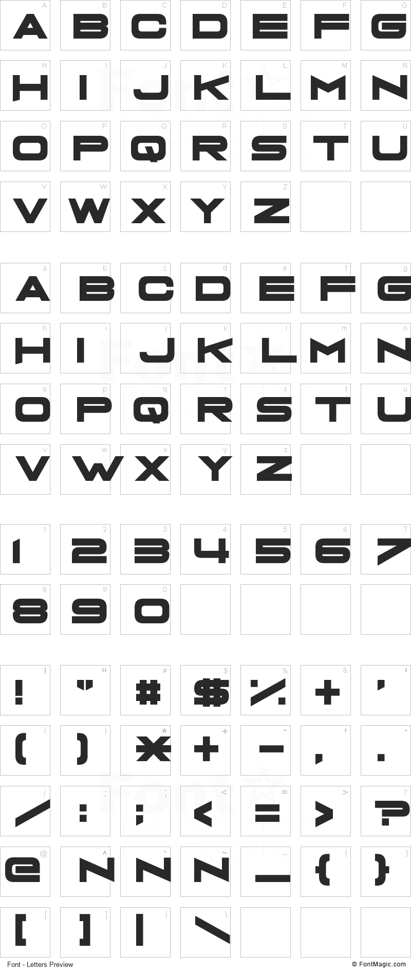 Grandma's Television Font - All Latters Preview Chart