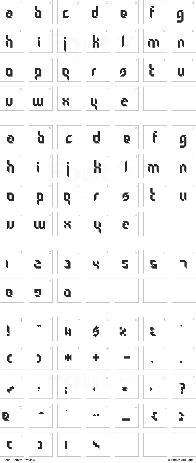 Particulator Font - All Latters Preview Chart
