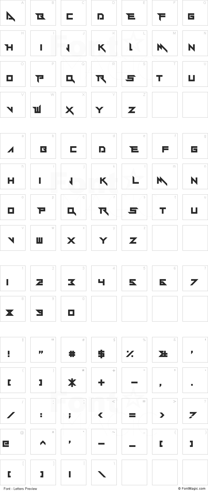 Y-Andermo Font - All Latters Preview Chart