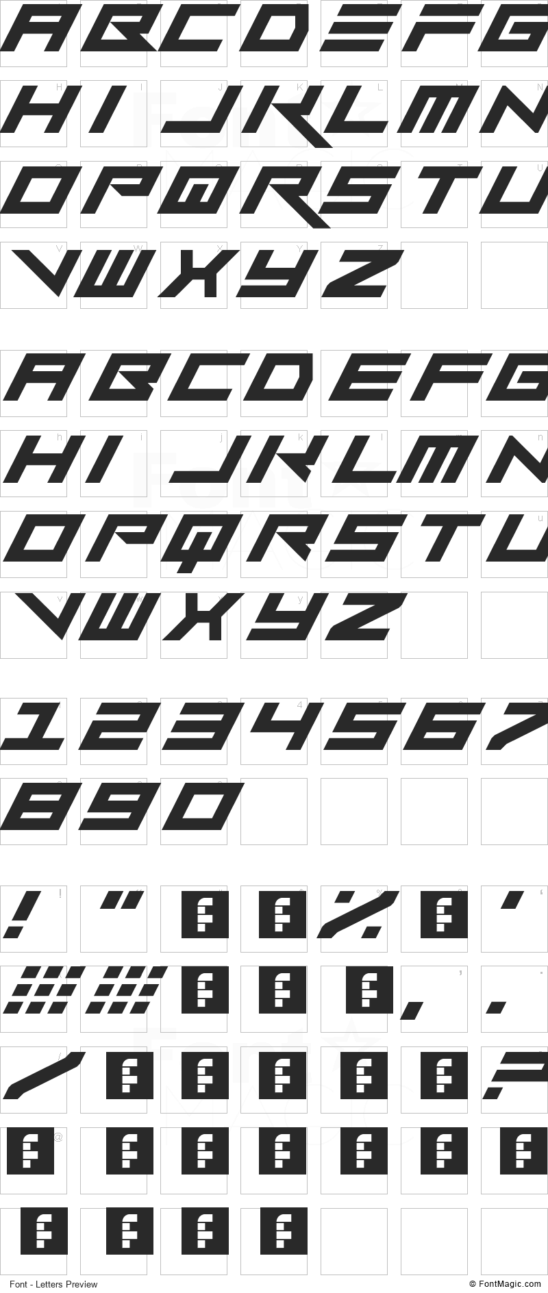 Vermin Vibes Slant Font - All Latters Preview Chart