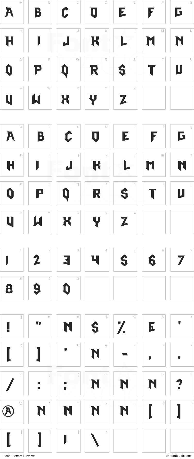 Omega Ruby Font - All Latters Preview Chart