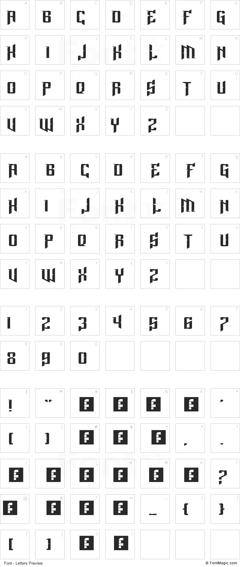Lord Juusai Rises Font - All Latters Preview Chart