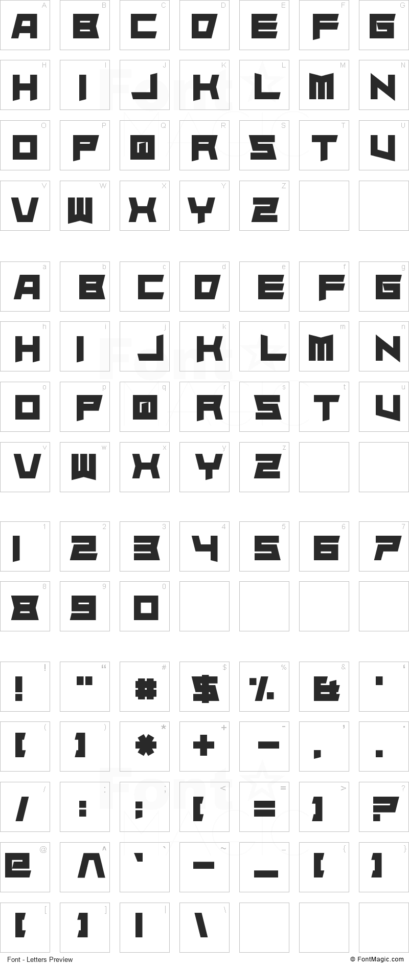 Superdie Font - All Latters Preview Chart