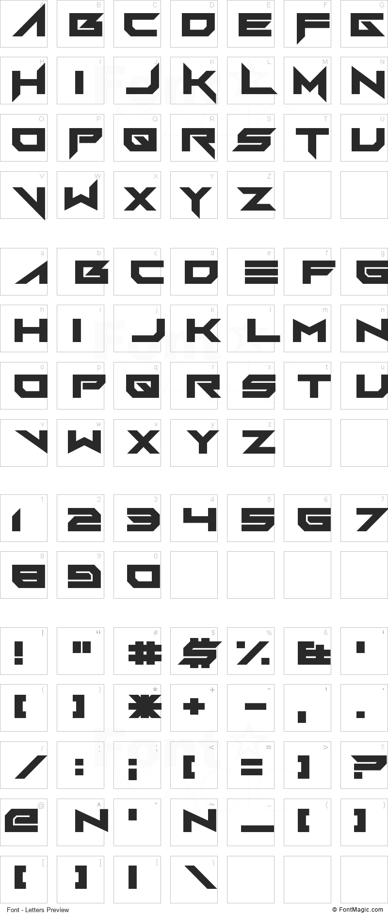 FoughtKnight Victory Font - All Latters Preview Chart