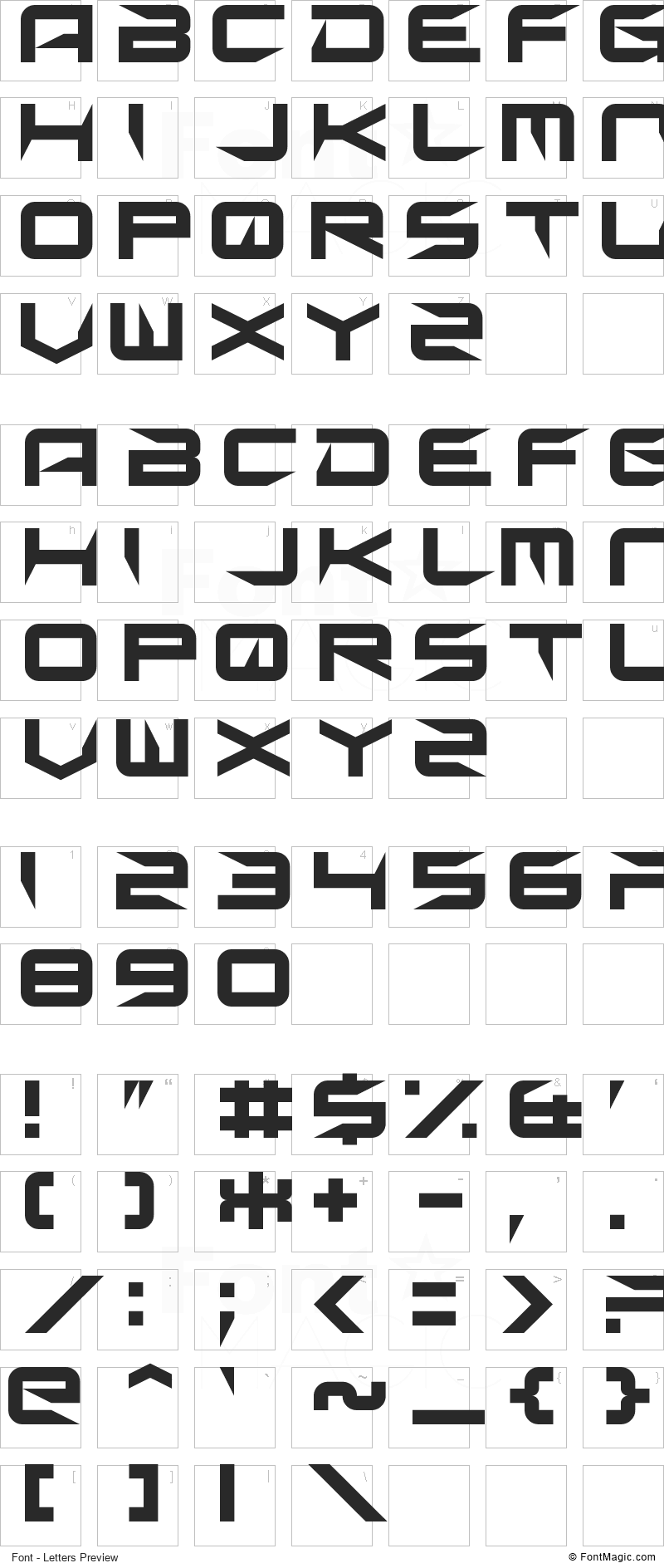 Sharp Font - All Latters Preview Chart